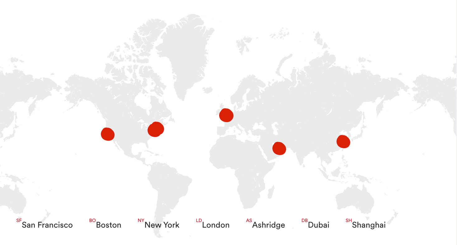 Ashridge locations on world map; San Francisco, Boston, New York, London, Ashridge, Dubai