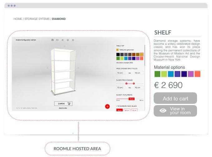 Shop integration of 3D furniture configurators and AR