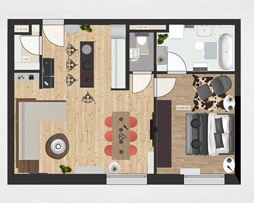 Roomle Kleine Wohnung 3D Raumplan