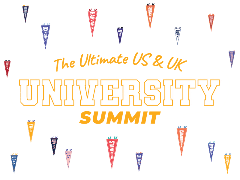 Ultimate US UK EU Summit text with university flags
