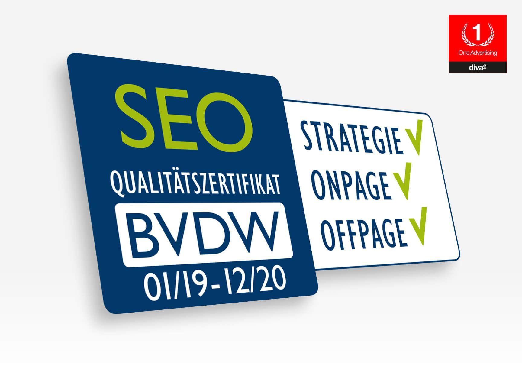 One Advertising erhält erneut SEO-Qualitätszertifikat des BVDW