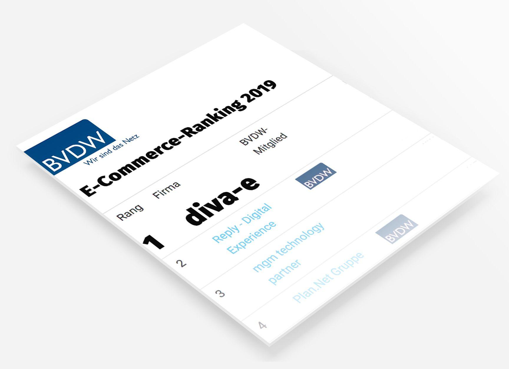 E-Commerce Ranking 2019: diva-e ist erneut die Nummer 1