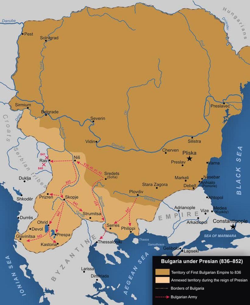 България по времето на хан Пресиян. Той е първият български владетел, който освобождава куберовите прабългари и включва града в пределите на България.