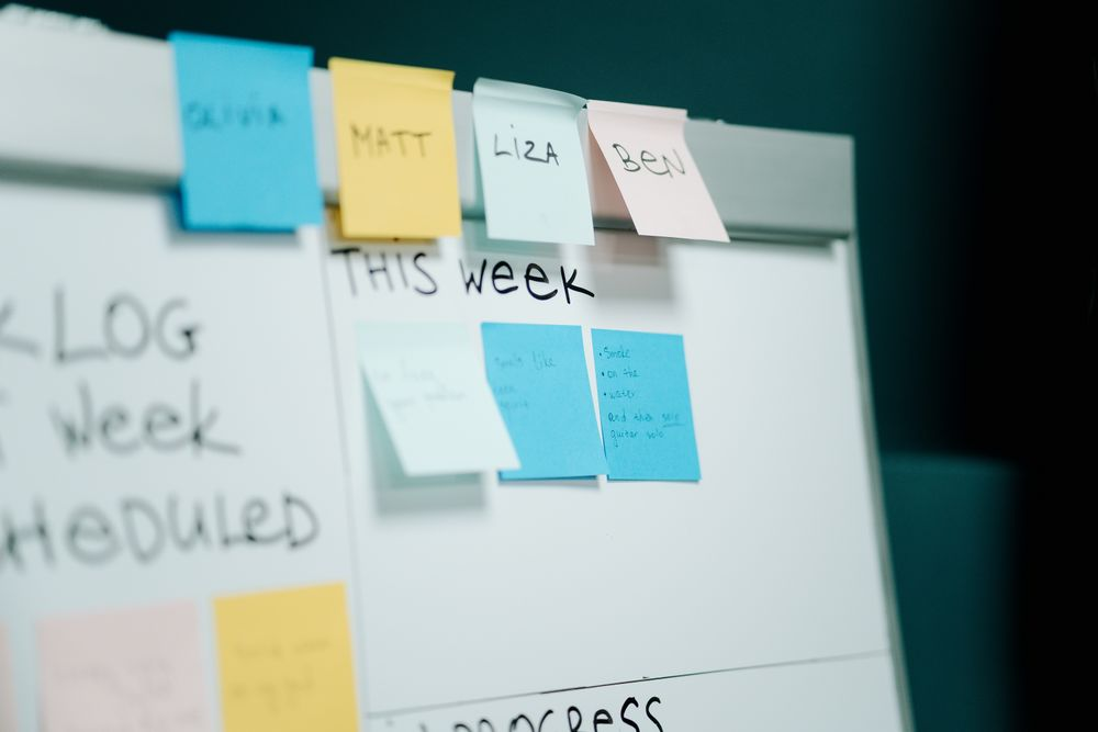 Close up of a scrum board with post-its on