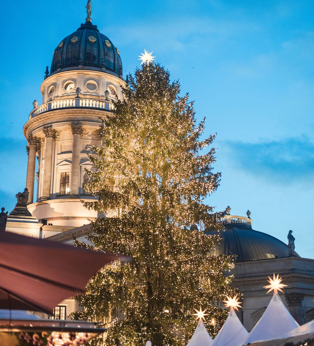 decorated christmas tree with lights and berlin city in background
