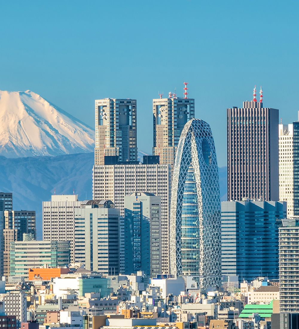 tokyo skyline and mount fuji in japan