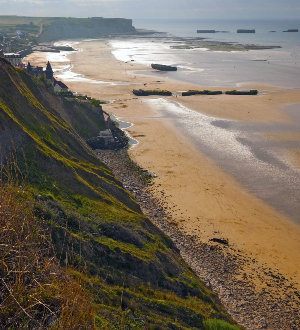 looking down the invasion beach at arromanches normandy france