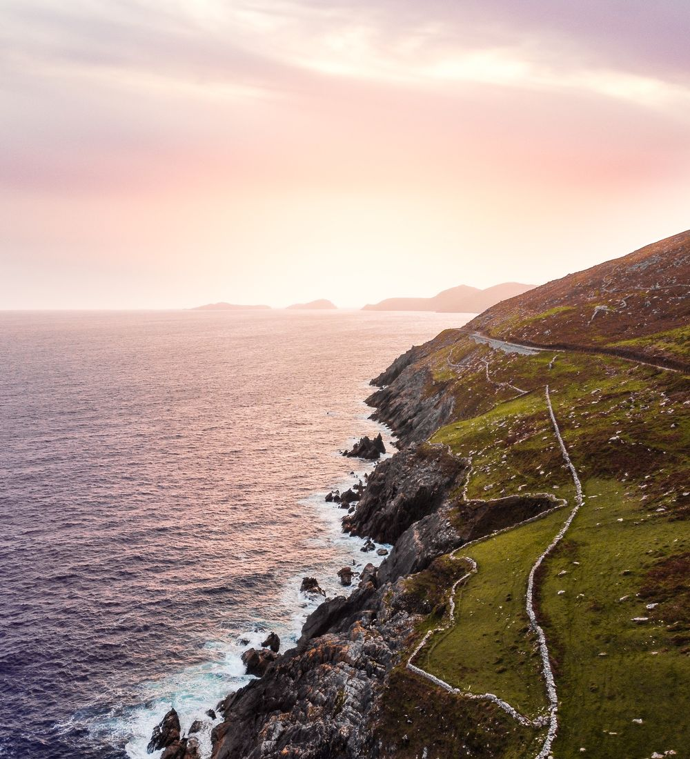 A sunset view of the cliffs of the dingle peninsula in country kerry ireland