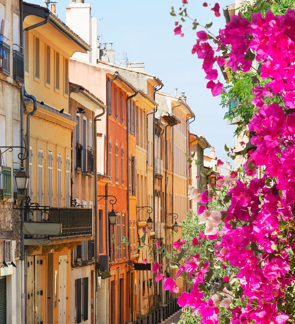 Old town street of Aix en Provence France on Summer day