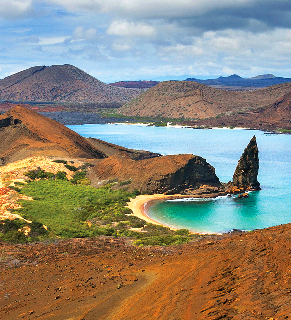 beaches on bartolome island in the galapagos islands in ecuador