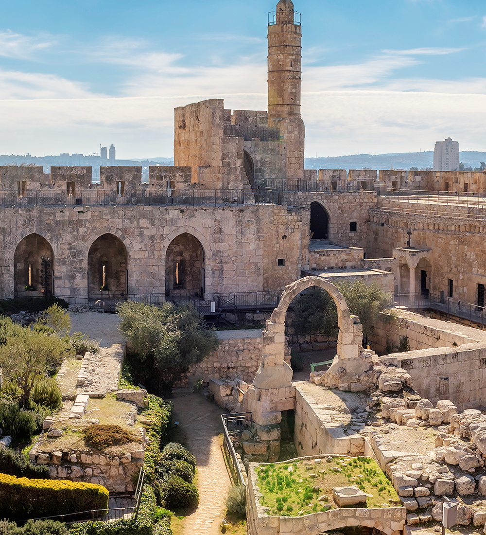 davids tower in old city of jerusalem in israel