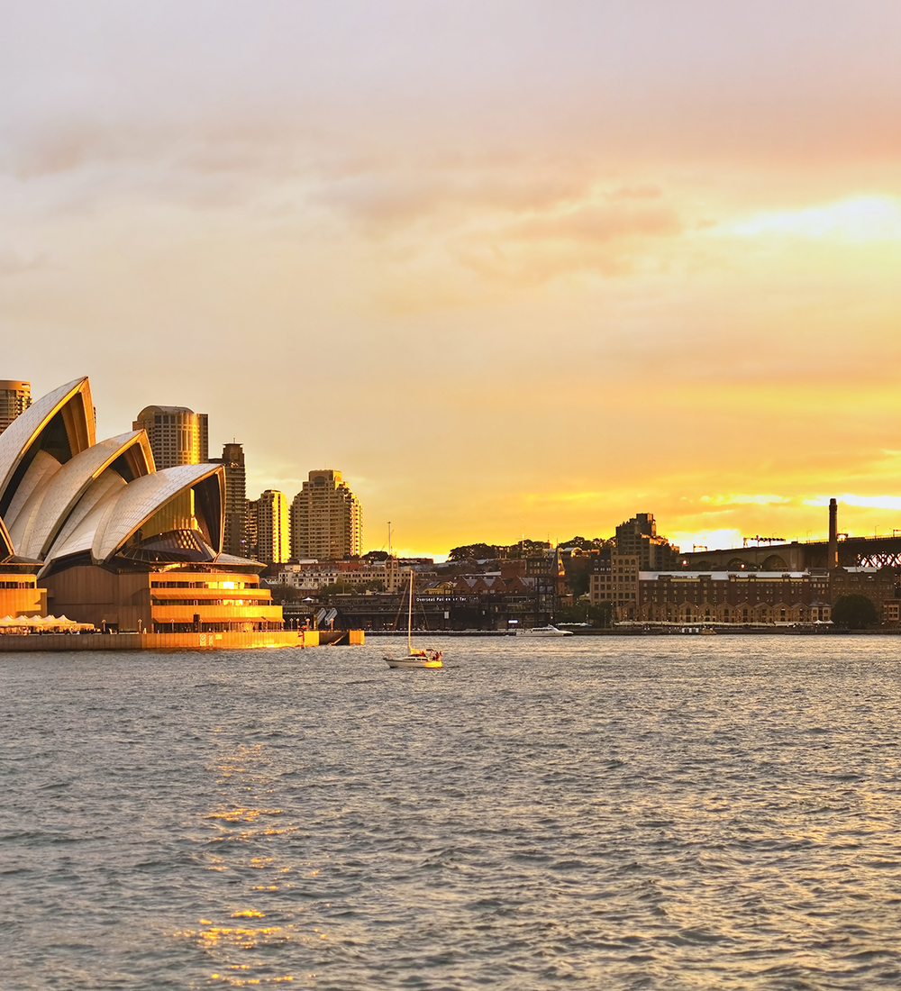 sydney opera house with harbour bridge and skyline in background