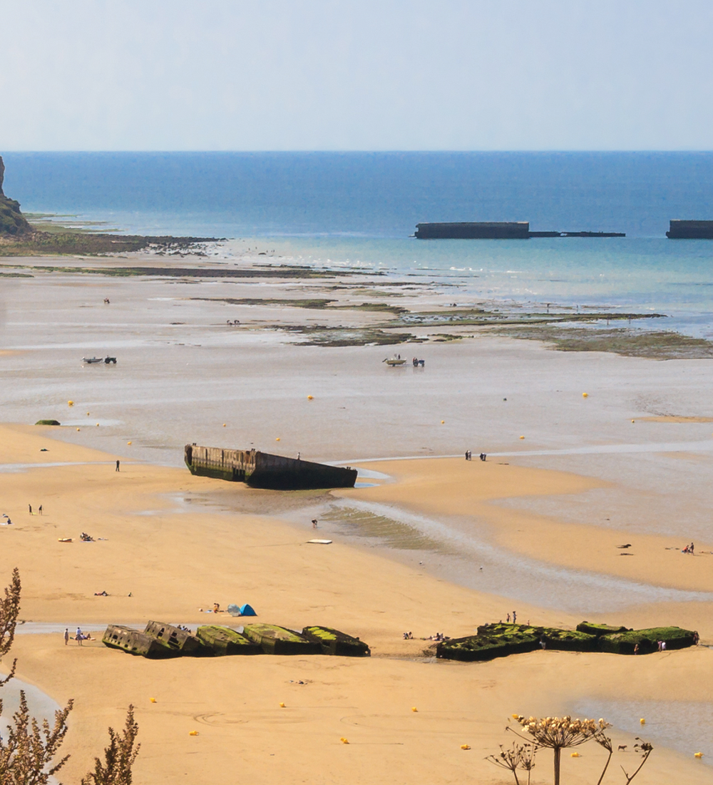 gold beach in normandy france on sunny day