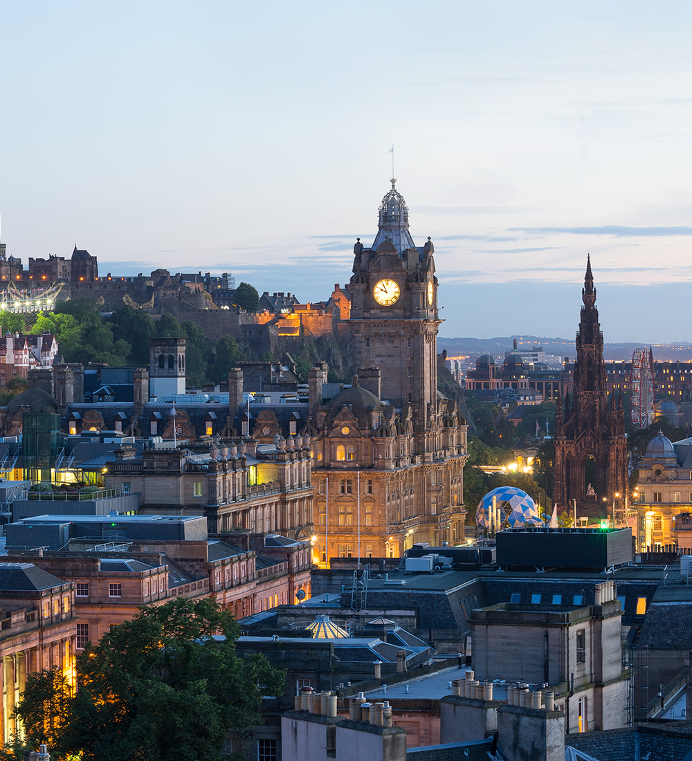 edinburgh city view panorama at night in uk