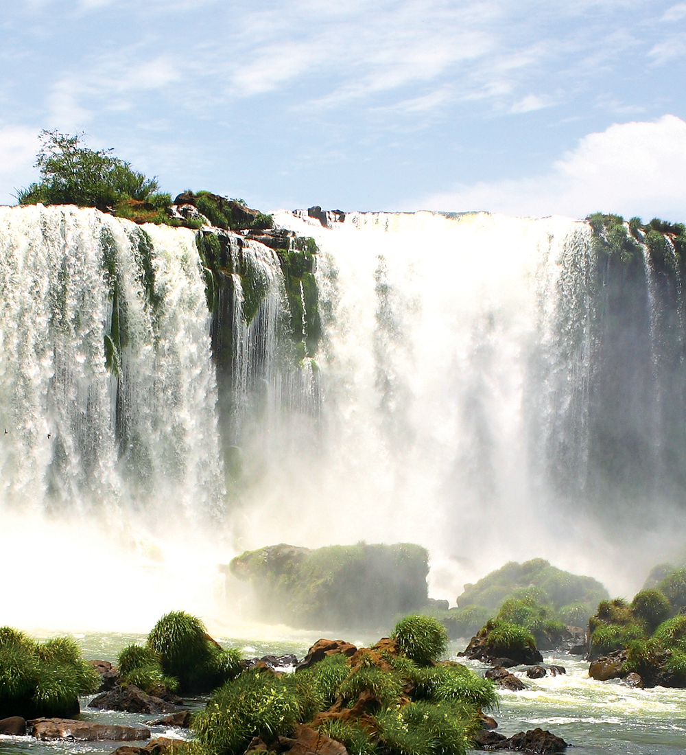 iguazu falls at iguacu national park in brazil on sunny day