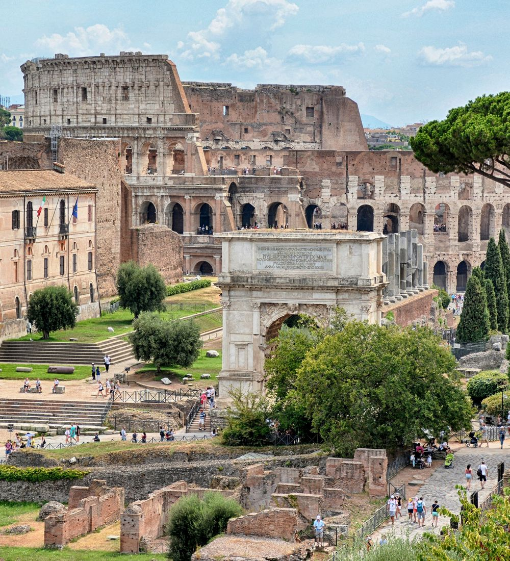 view of the ancient roman forum in rome italy