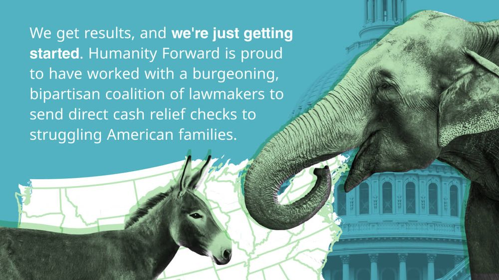 Elephant and donkey stand face-to-face in front of an outline of the United States of America and the top of the United States Capital Building. The text reads