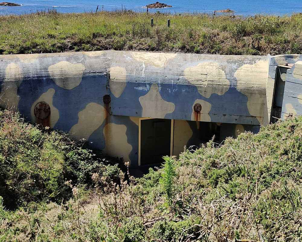 A camouflaged bunker built into the earth