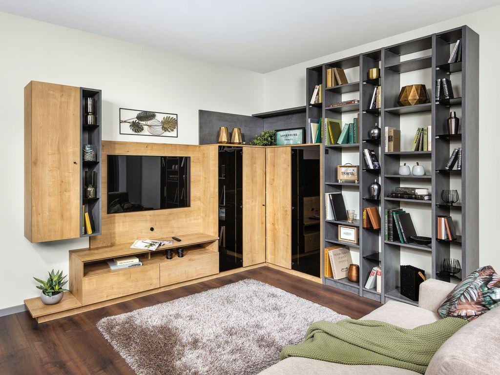 Wohnwand mit Bibliothek
