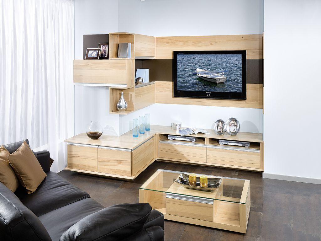 Eck-Wohnwand mit TV-Paneel