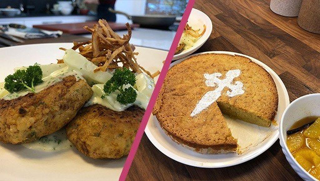Kalbsbutterschnitzel mit Püree und Mandelkuchen