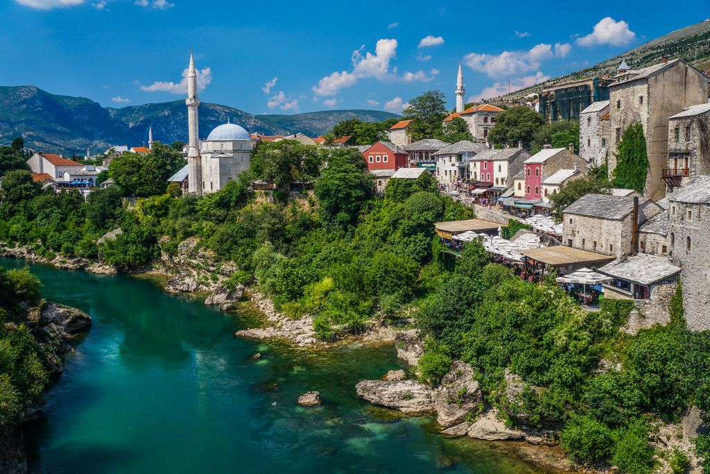 Looking across the river at Mostar's old town