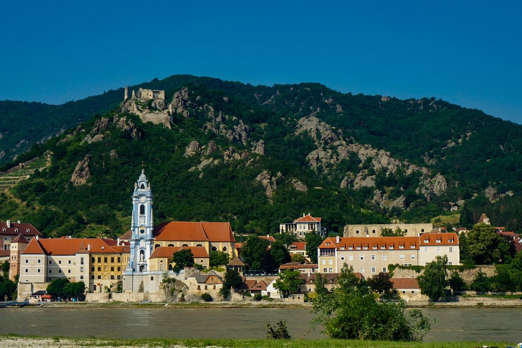 Looking across the river at Durnstein in the Wachau Valley