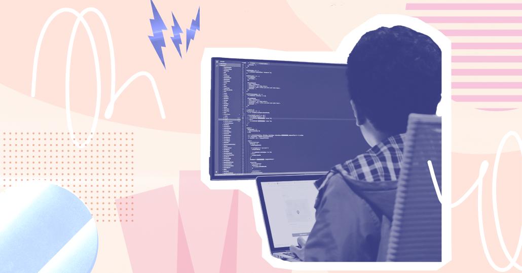 react native developer writes code illustration by Emma Grandich