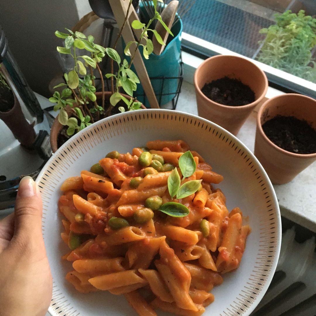 færdiglavet pasta i cremet tomatsauce