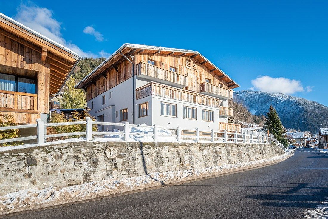 Outside view of Sugi accommodation in Morzine