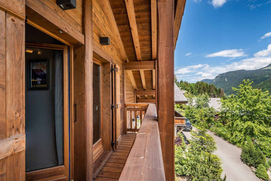 View from the balcony of Balata luxury chalet in Morzine