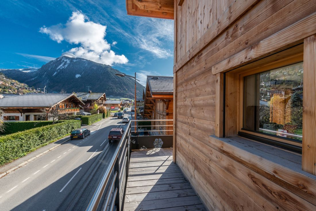 Terrace with views over the Alps at Ourson accommodation in Morzine