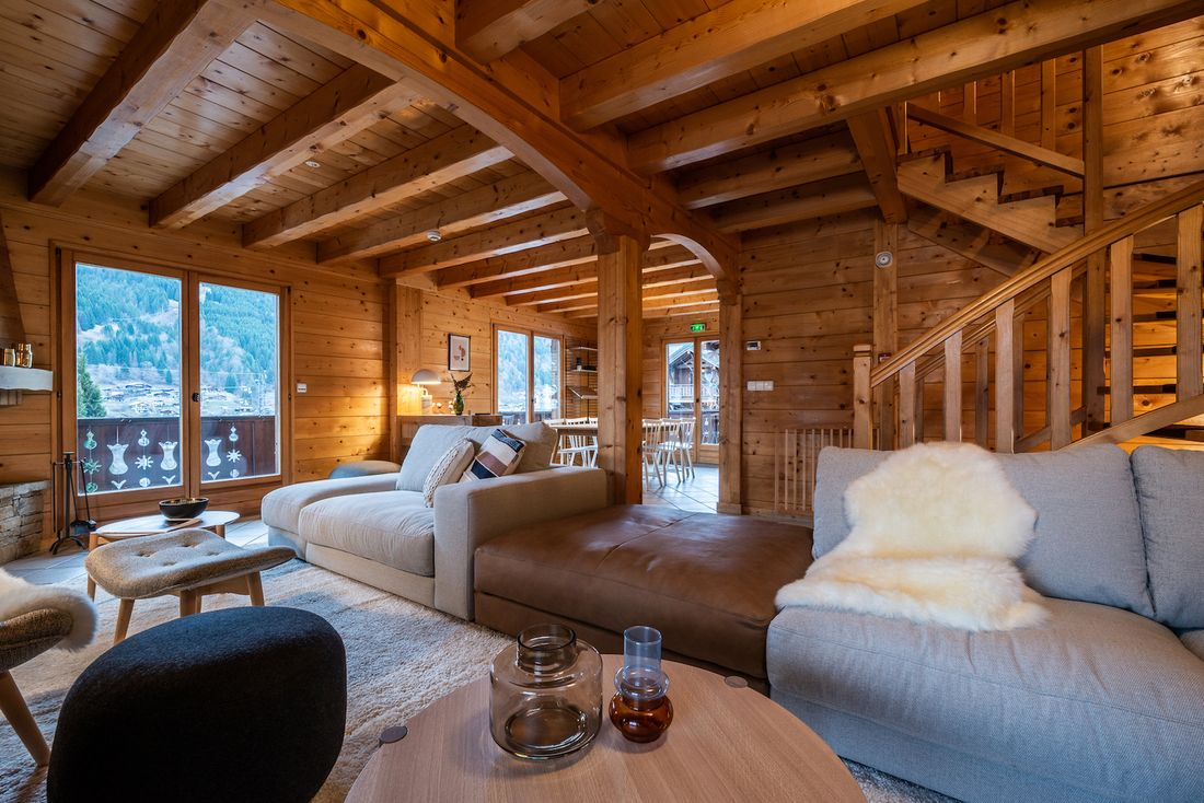 Typical wooden living room interior design at Doux Abri chalet in Morzine