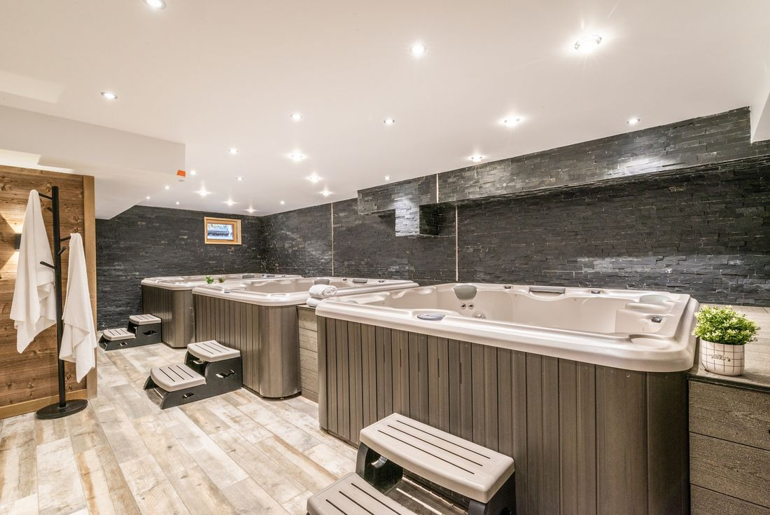 Indoor hot tub area at Street view of Etoile accommodation in Morzine