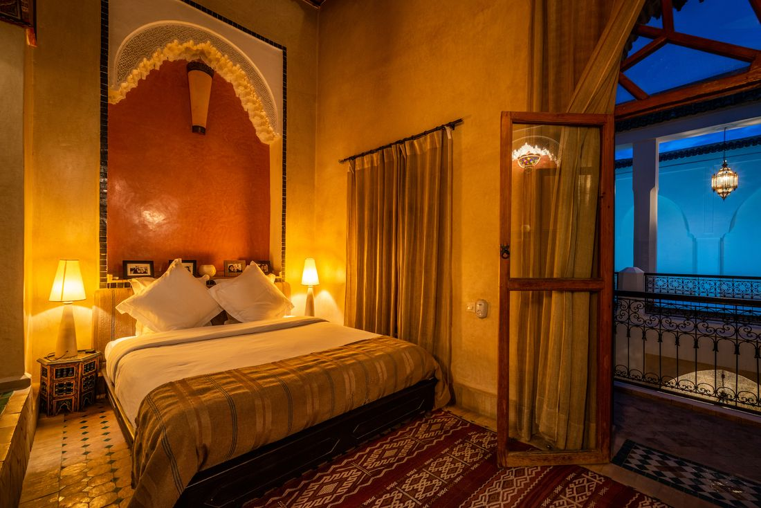 Double bedroom 3 with traditional moroccan interior design at Adilah riad in Marrakech