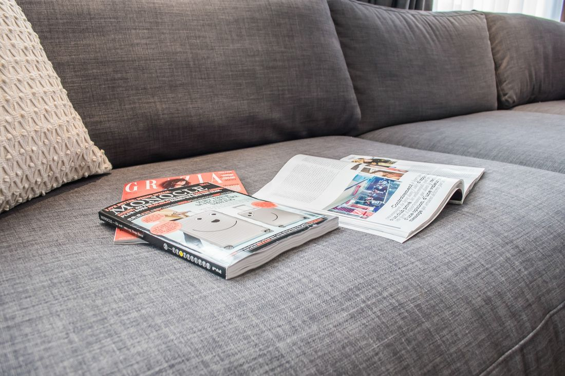 Monocle and Grazia magazines on the couche of Ayan accommodation in Morzine
