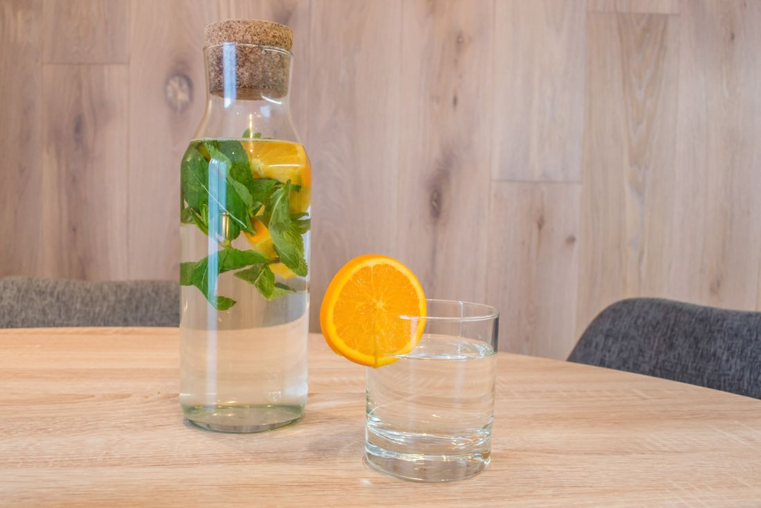 Natural water with mint and oranges