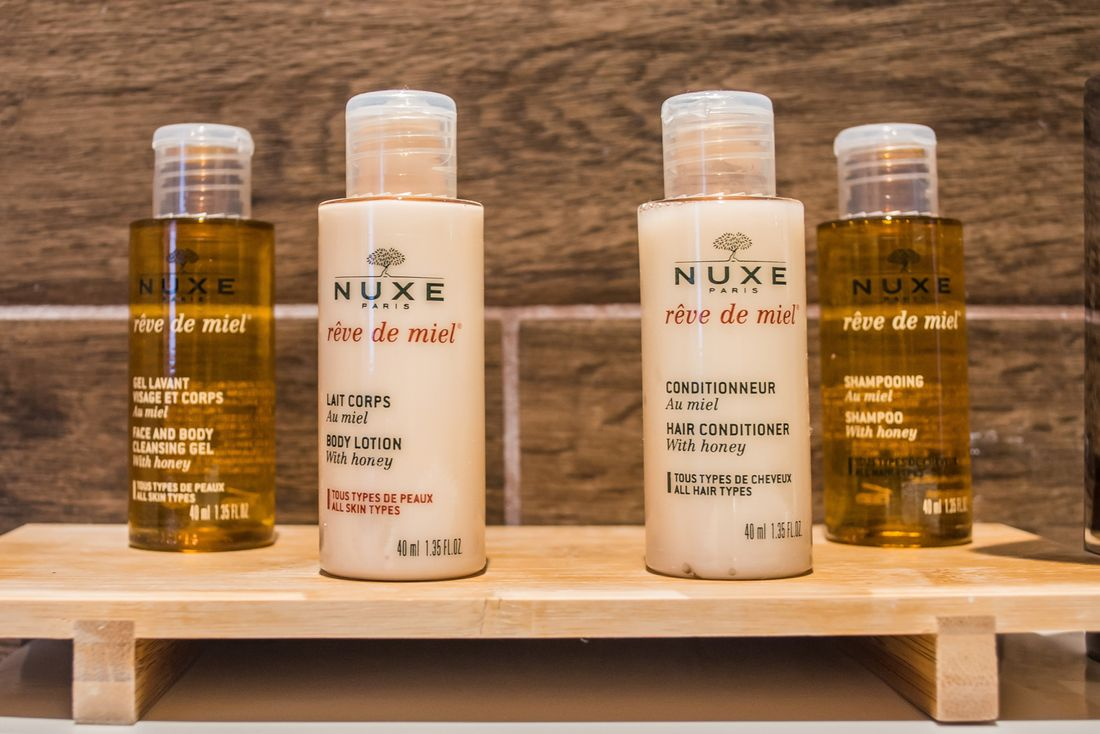 Complimentary Nuxe products in the bathroom of Ipe accommodation in Morzine