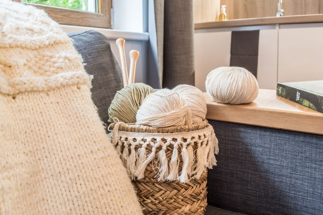 Basket of yarns in the living room of Ipe accommodation in Morzine
