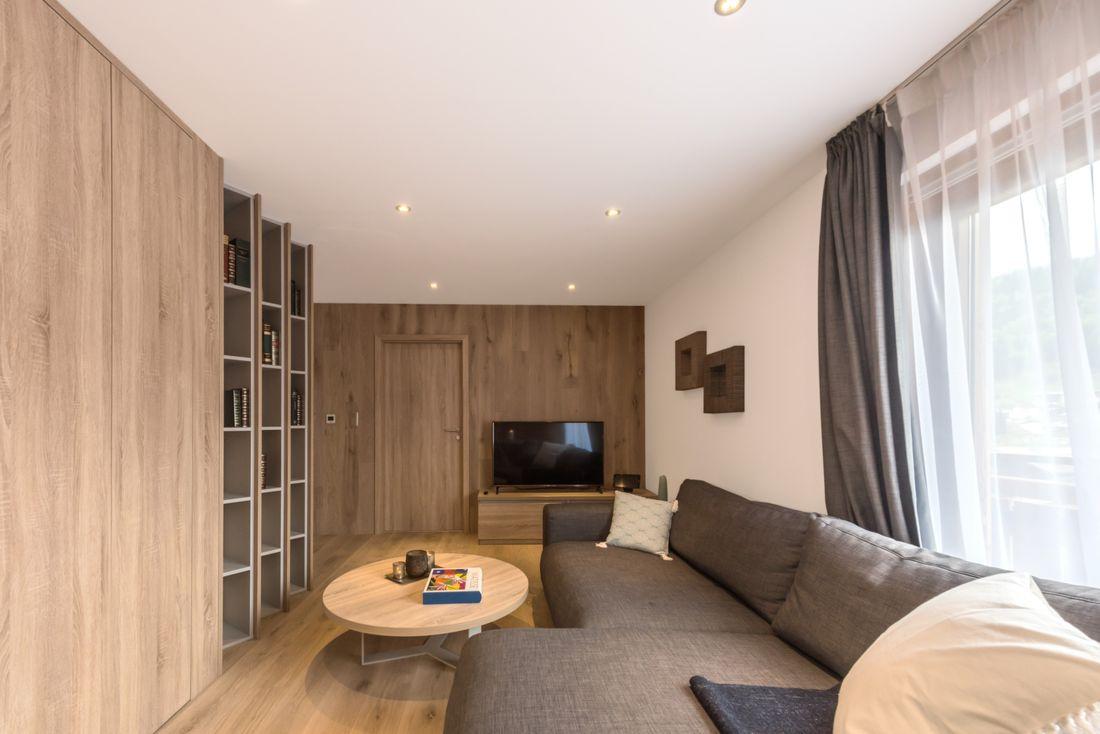 Modern wooden living room of Meranti accommodation in Morzine