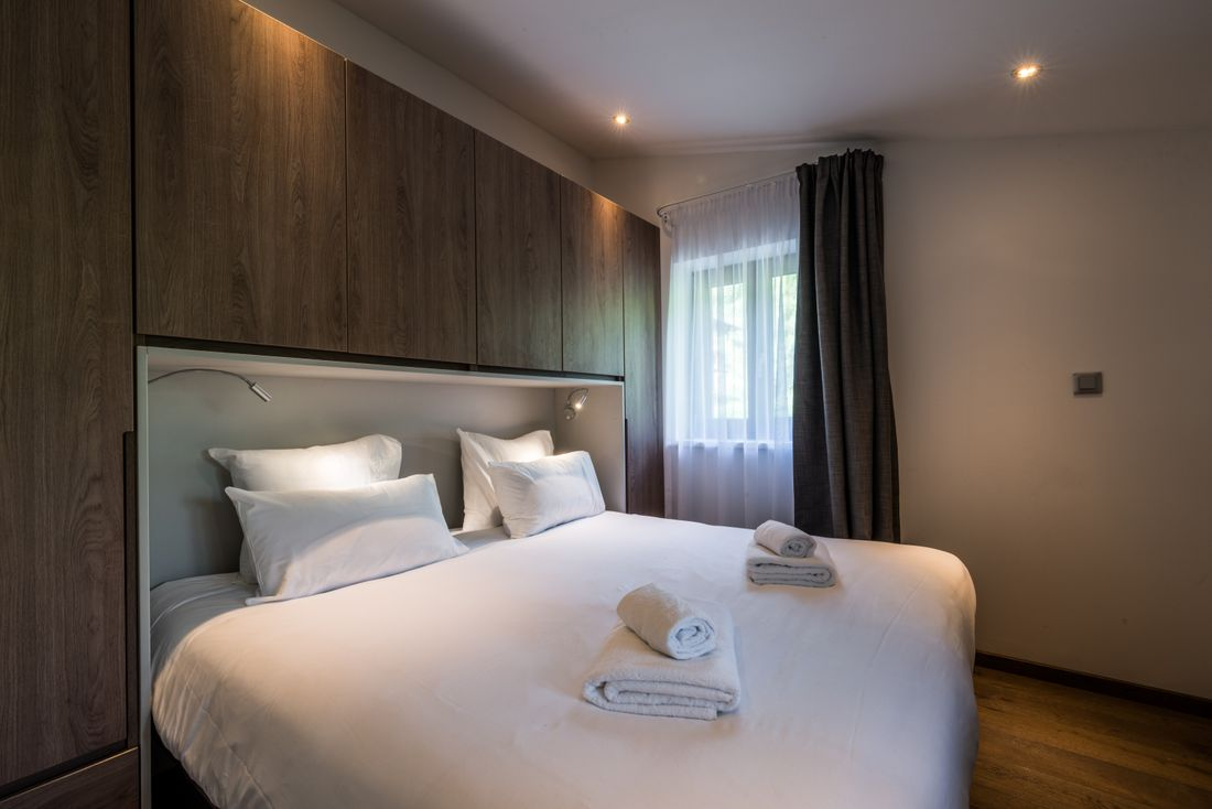 Modern double bedroom at Kauri accommodation in Morzine