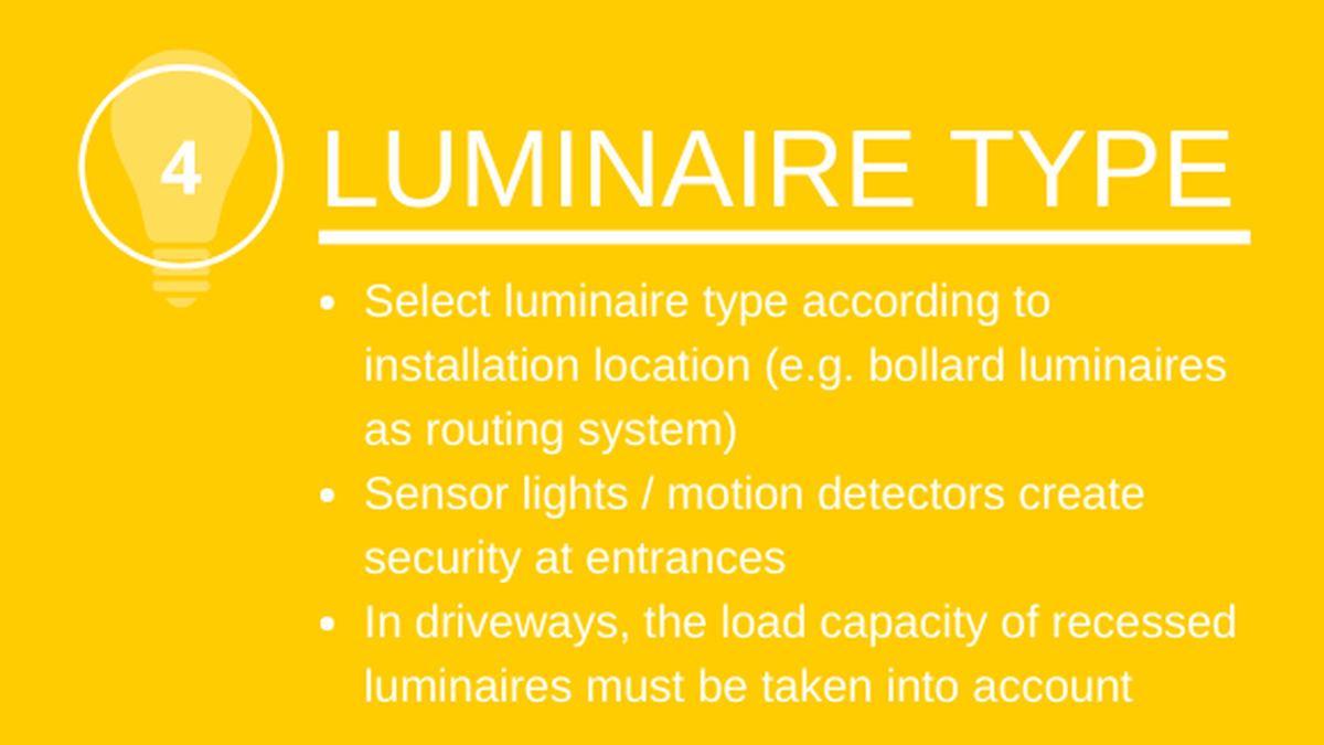 Light type: Select light type according to installation location