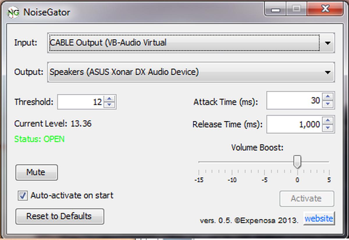 Noisegator Sound Settings