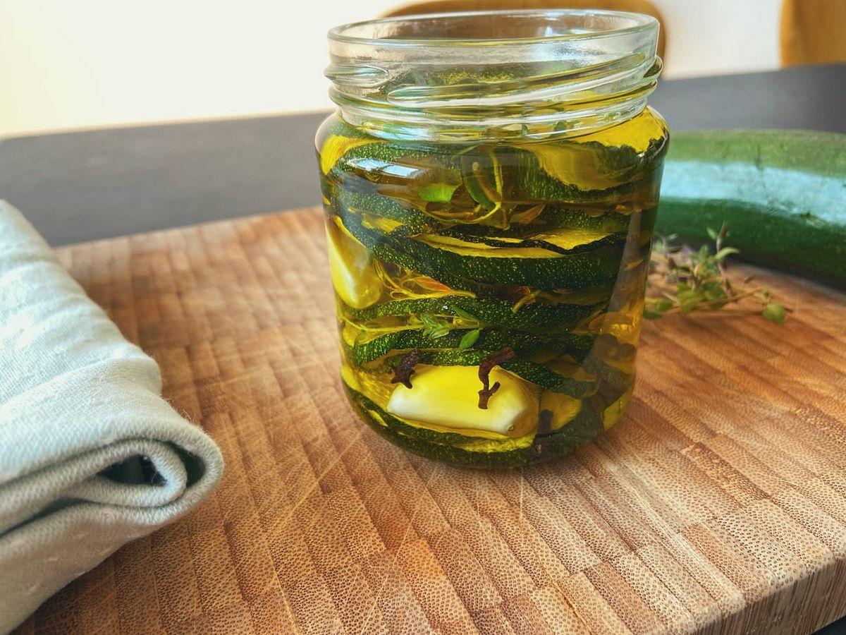 Syltede squash i olivenolie