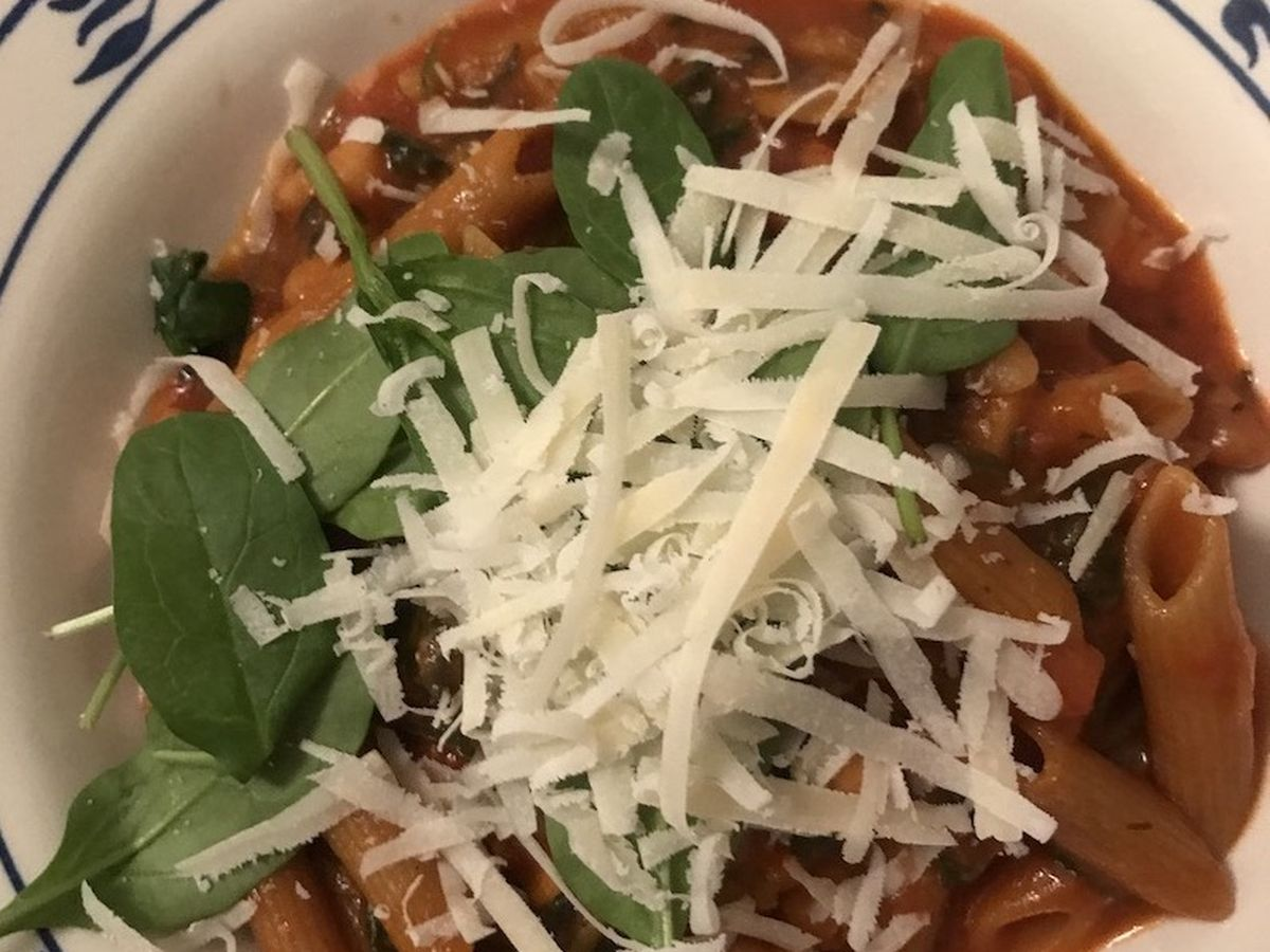 One pot pasta med svampe og spinat - vegetar