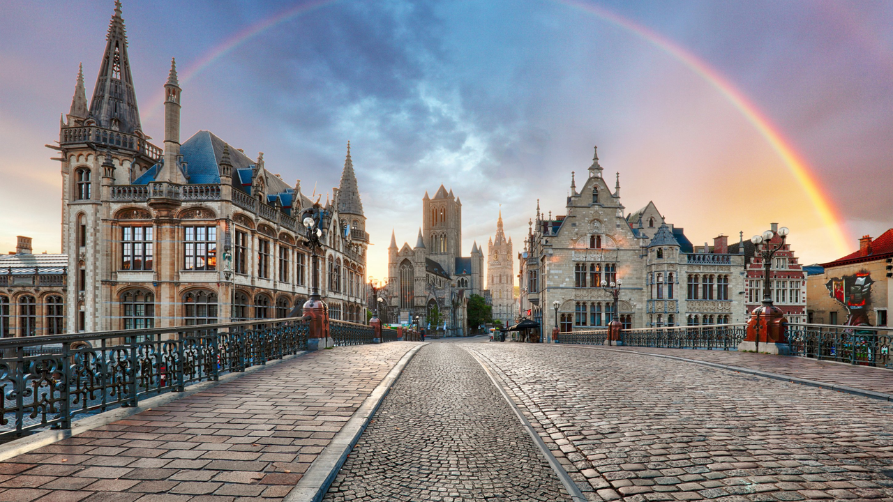 A rainbow over the old town of Ghent, Belgium