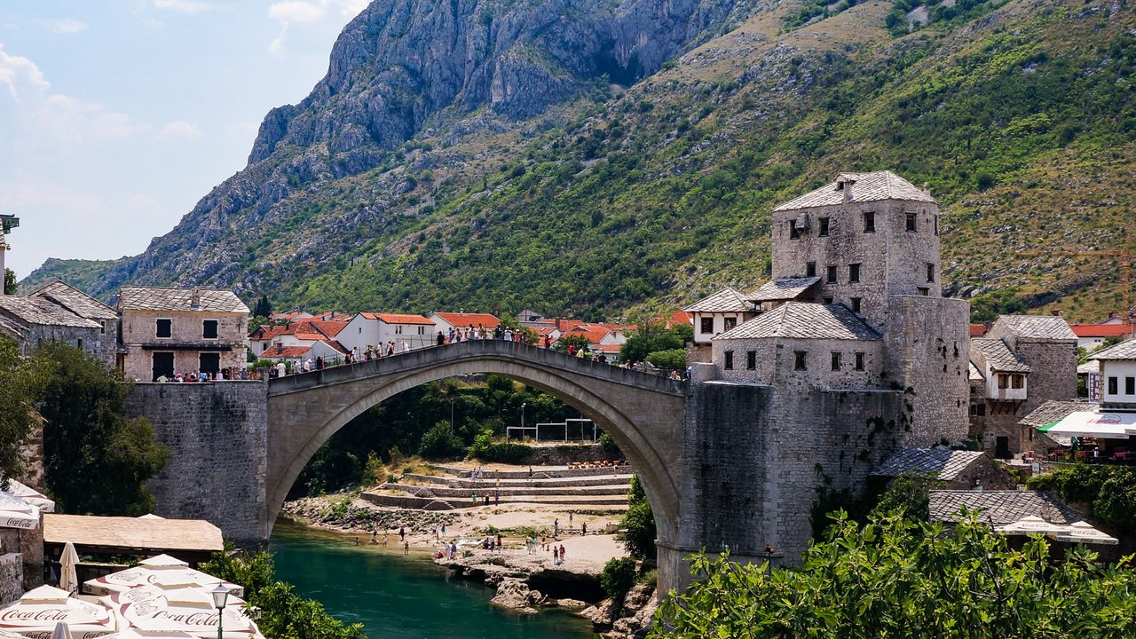The Stare Most (old bridge) in Mostar, Bosnia and Herzevonia