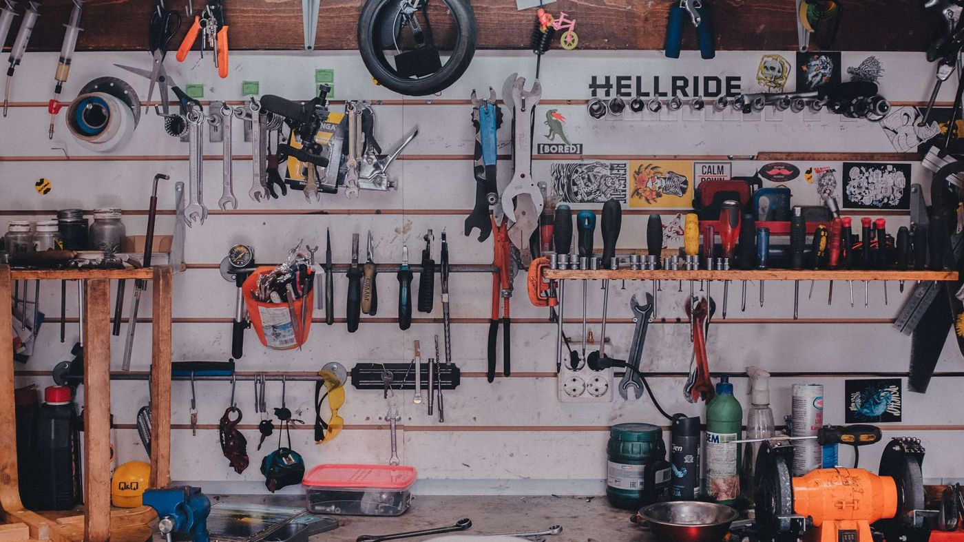 Hanging tools on a workshop wall