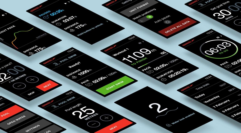 Speedo Watch App UI screens