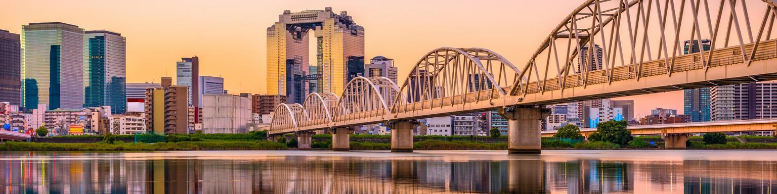 Osaka, Japan Umeda District cityscape panorama on the Yodogawa River